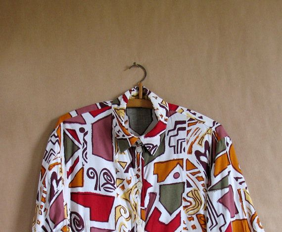 ABSTRACT Print  Slouchy Button Down Shirt  Vintage 90s by vintachi, $15.99