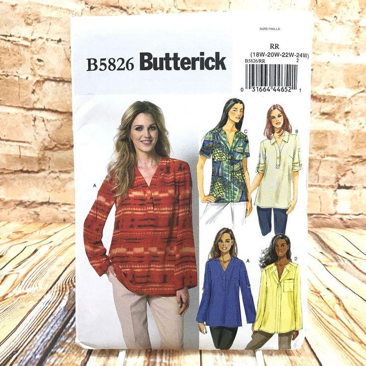 Butterick 5826 Womens Plus Size Pullover Tops Sz 18W 24W Uncut Sewing Pattern #Butterick