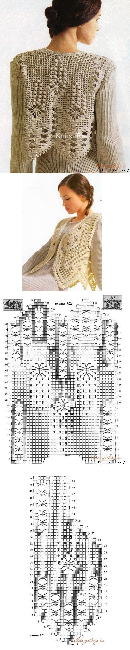 """Жилеты вязанные филейной вязкой [   """"Crochet vest chart pattern here"""