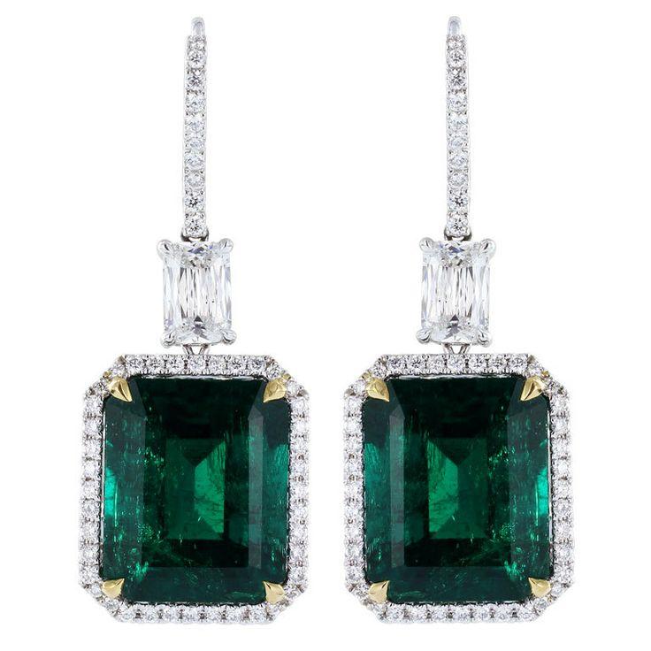 Striking 18.83ctw Colombian Emerald EarringsCut Diamonds, Strike 18 83Ctw, Emerald Earrings, Colombian Emeralds, Drop Earrings, Earrings Counting, 18 83Ctw Colombian, Emeralds Earrings, Bridal Jewelry