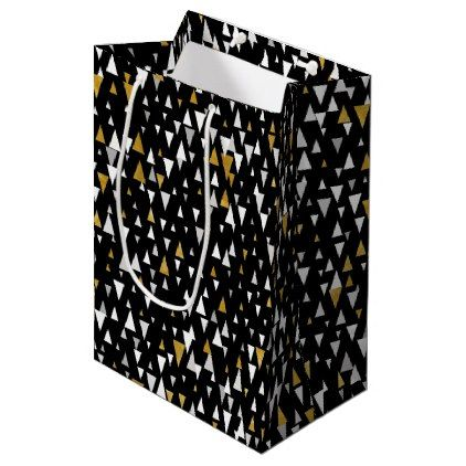 Triangle Modern Art - Black Gold Medium Gift Bag  $9.55  by LEMATWORKS  - cyo customize personalize unique diy idea