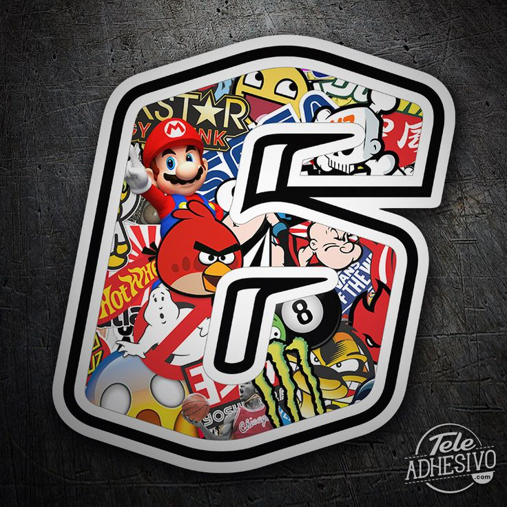 Pegatinas: Número 6 Speed Stickerbomb #pegatinas #numero #adhesivo #decoracion #moto #coche #TeleAdhesivo