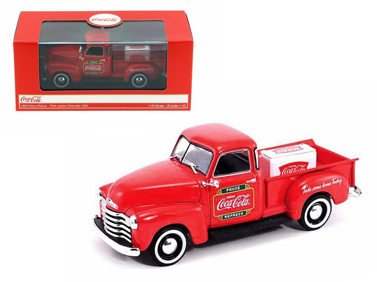 1953 Chevrolet Pickup Truck with Metal Cooler Coca Cola 1/43 Diecast Model by Motorcity Classics - Brand new 1:43 scale diecast car model of 1953 Chevrolet Pickup Truck with Metal Cooler Coca Cola die cast car model by Motorcity Classics. Rubber tires. Brand new box. Detailed interior, exterior. Comes in plastic display showcase. Dimensions approximately L-4.5 inches long. Please note that manufacturer may change packing box at anytime. Product will stay exactly the same.-Weight: 1. Height…