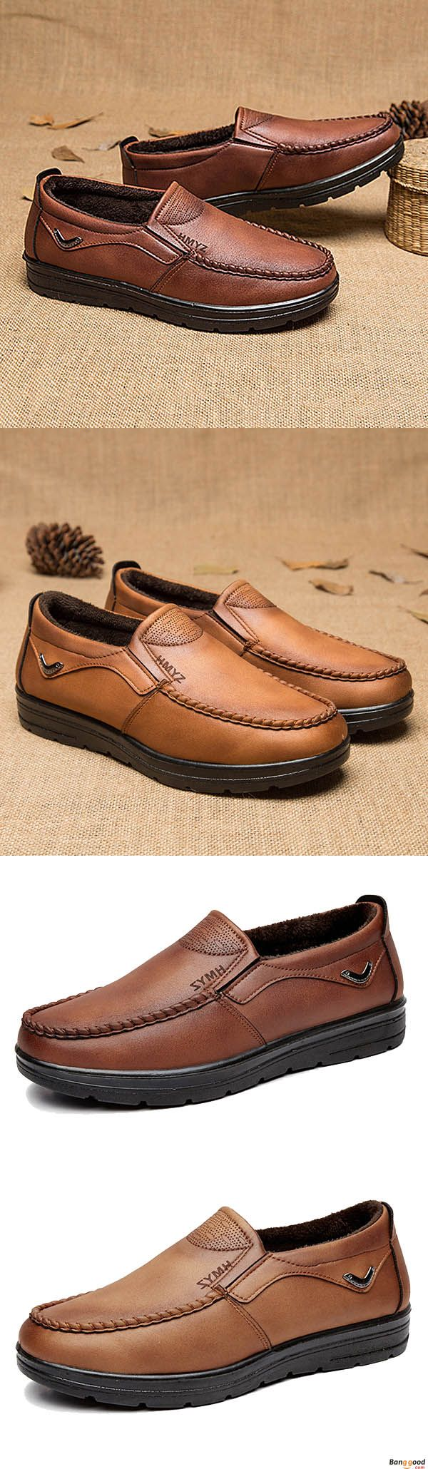 Men Comfy Soft Sole Warm Lining Microfiber Leather Casual Business Slip On Oxfords. Warm and comfy. Shop at banggood with super affordable price.