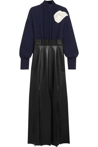 A.W.A.K.E. - Jellyfish Crepe And Faux Leather Maxi Dress - Navy - FR40