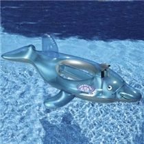 Swim with the dolphins inflatable Ride on Dolphin with constant supply water pistol.