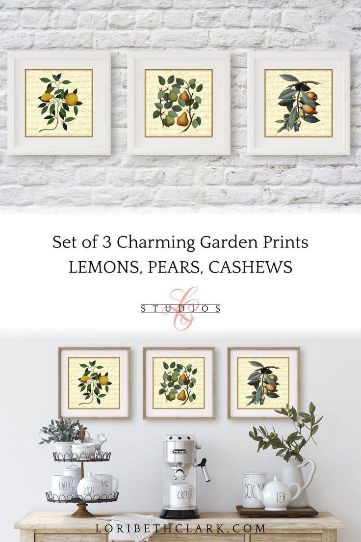 Farmhouse wall art prints botanical set of 3 gallery wall