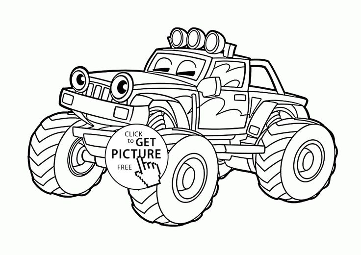 Funny Monster Truck Coloring Page For Kids, Transportation