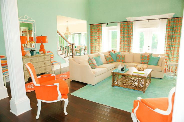 Coral And Tiffany Blue Living Room. This Would Be So Cute
