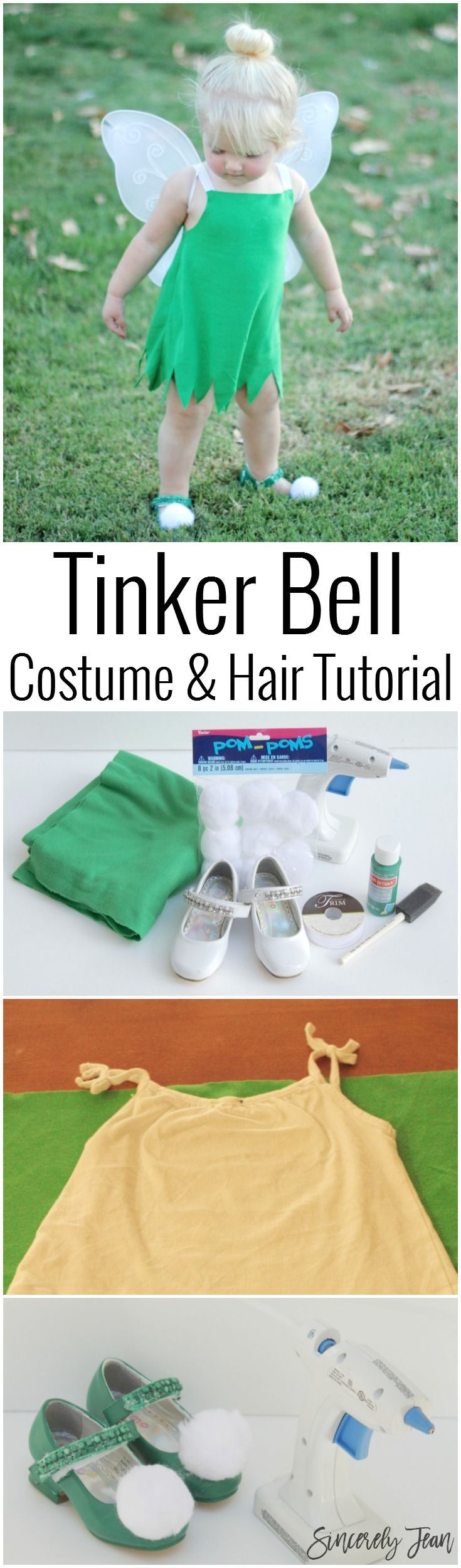 Toddler Halloween Costume - DIY Toddler Tinker Bell Costume and Hair - Simple and cute tutorial on how to make a toddler Tinker Bell costume and tips for doing the hair! | http://www.sincerelyjean.com