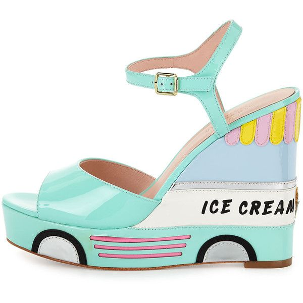 kate spade new york dotty ice cream wedge sandal ($295) ❤ liked on Polyvore featuring shoes, sandals, ankle wrap sandals, strap sandals, open toe wedge sandals, platform sandals and strappy platform sandals