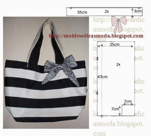 Faça o molde da bolsa em tecido preto e branco fácil de modelar e muito prático para o dia-a-dia da mulher. Desenhe em papel o molde com as medidas que...
