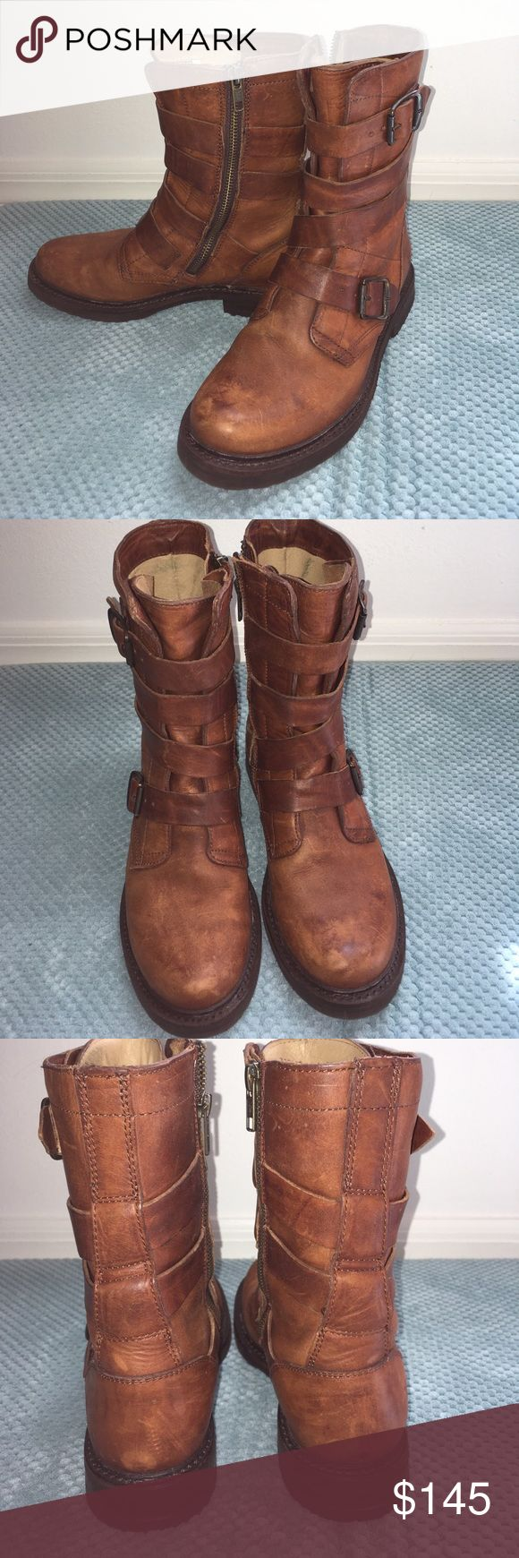 Cognac Frye Veronica Tanker Boots Pristine condition... only worn once.  Faint denim transfer on inside. Otherwise, perfect! Sadly, they're too small for me:( Frye Shoes Combat & Moto Boots