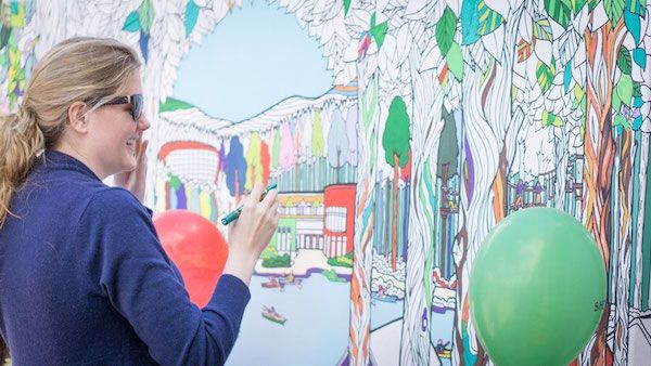 Fun, Giant 'Coloring Book' Canvases That Adults Can Fill In Colors Together - DesignTAXI.com