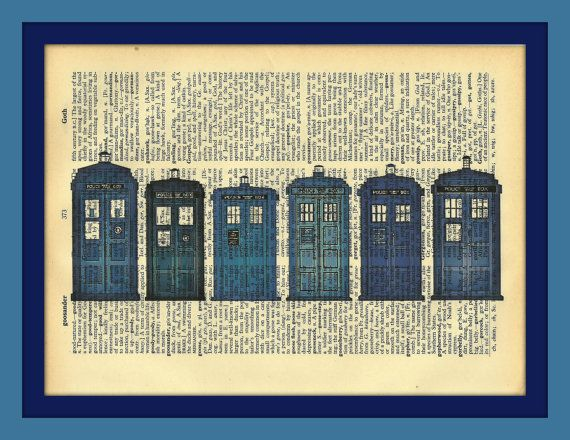 Tardis Dr Who Vintage Dictionary Altered by TheCraftyCelticLass, $5.00