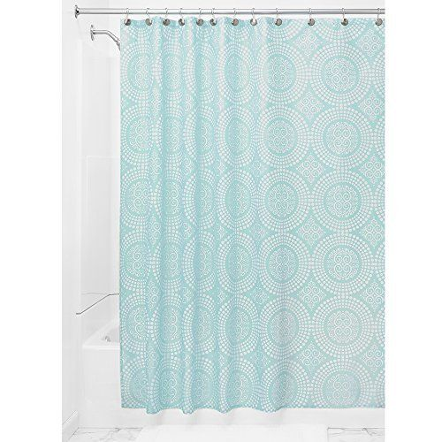 InterDesign Medallion Shower Curtain 72 X Inch White Mint