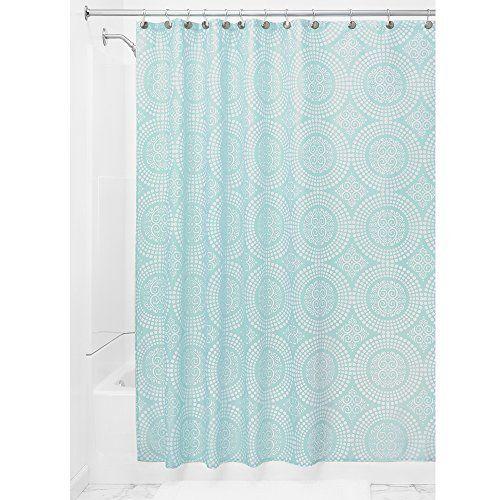 InterDesign Medallion Shower Curtain 72 X Inch White Mint