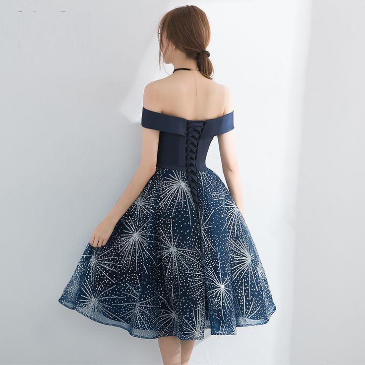 PotN'Patio Elegant Boat Neck Short Prom Dresses 2017 New Navy Blue Homecoming Dresses Semi Formal Dresses For Juniors