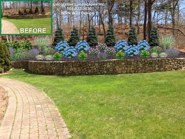 top of rock wall planting bed design falmouth ma. beautiful ideas. Home Design Ideas