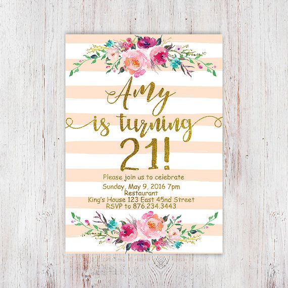 Birthday Floral 21st birthday invitations от InvitationsDigital                                                                                                                                                     More