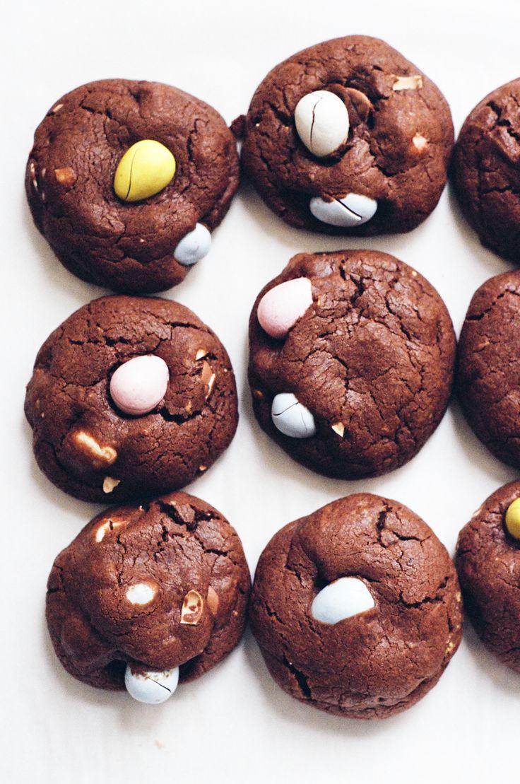 double chocolate cookies with cadbury eggs | apt 2b baking co