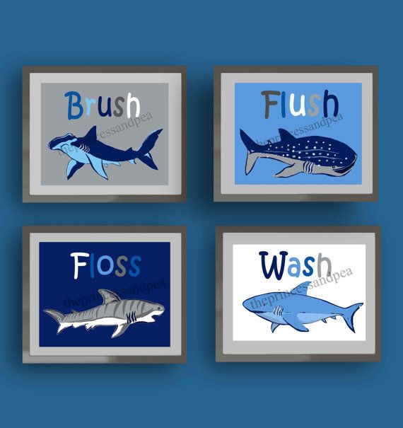 shark bathroom art, wash brush floss flush bathroom art, art rules for bathroom, nautical bathroom decor, sharks wall art