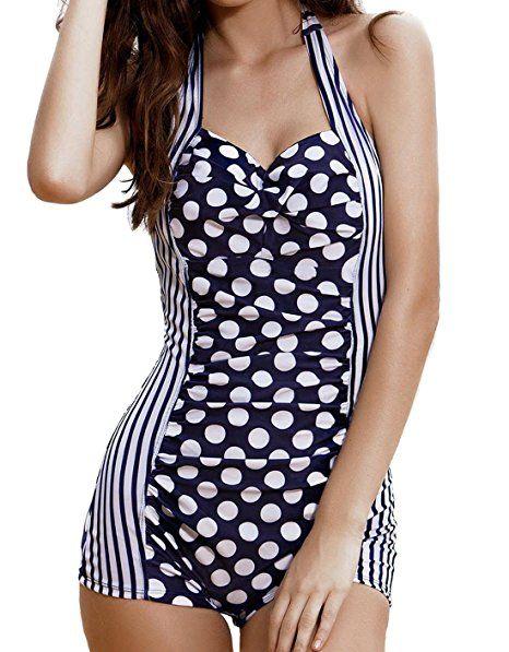 Jusfitsu Damen Einteiler Streifen Punkt Sport Badeanzug Schwimmanzug  Bademode One Piece Monokinis mit Bein Hotpants Blau UK 12 DE 3… 11140a0495