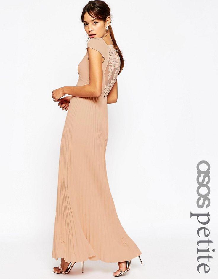 Vestido largo plisado con espalda de encaje WEDDING de ASOS PETITE