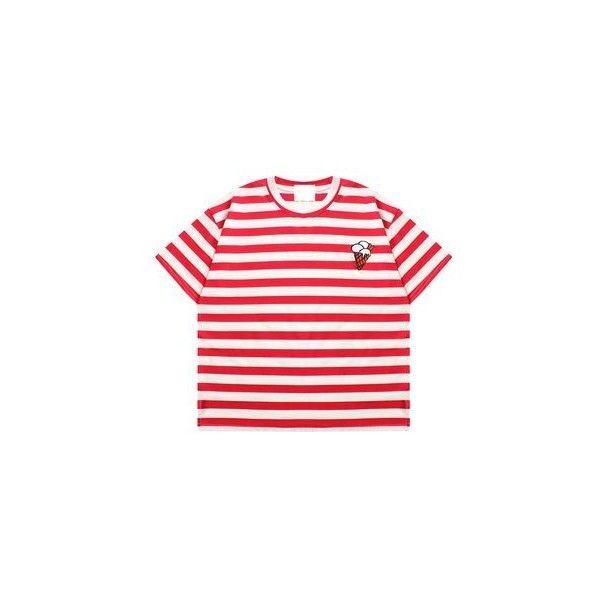 Striped Short-Sleeve T-Shirt ($17) ❤ liked on Polyvore featuring tops, t-shirts, tees, women, striped t shirt, red tee, stripe tee, short sleeve tee and short sleeve t shirt