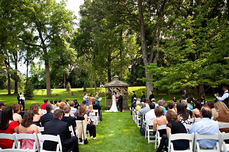 Duportail House outdoor wedding ceremony in front of Gazebo.