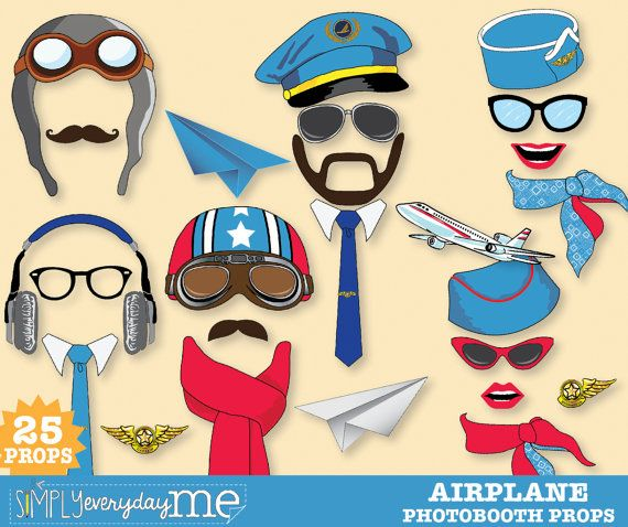 35 Pilot Party Props Airplane Party Diy Printable Photo Booth: Airplane Party Photo Booth Props Plane Party By