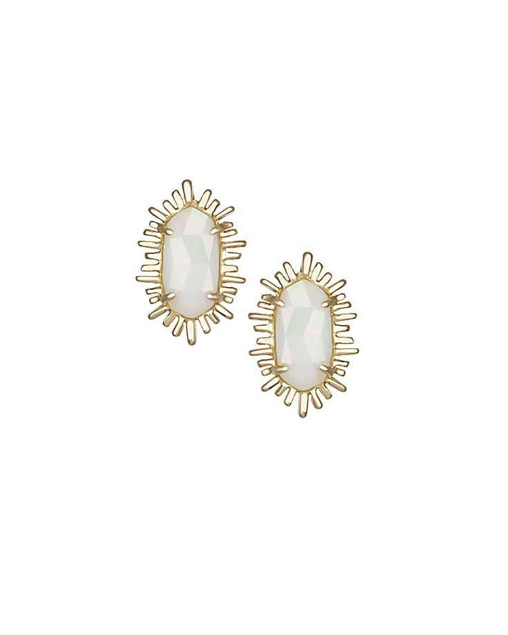 Kay Stud Earrings in White Iridescent - Kendra Scott Jewelry