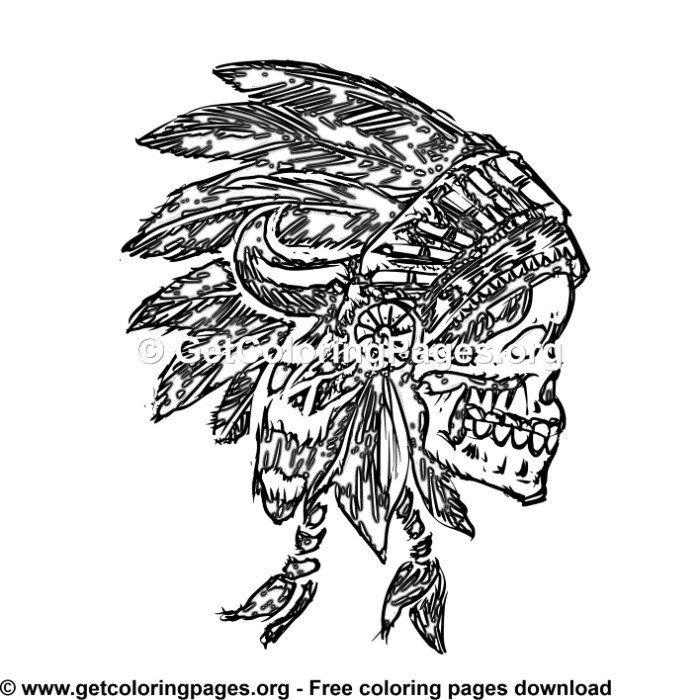 Indian Headdress Feathers Skull 1 Coloring Pages Indian