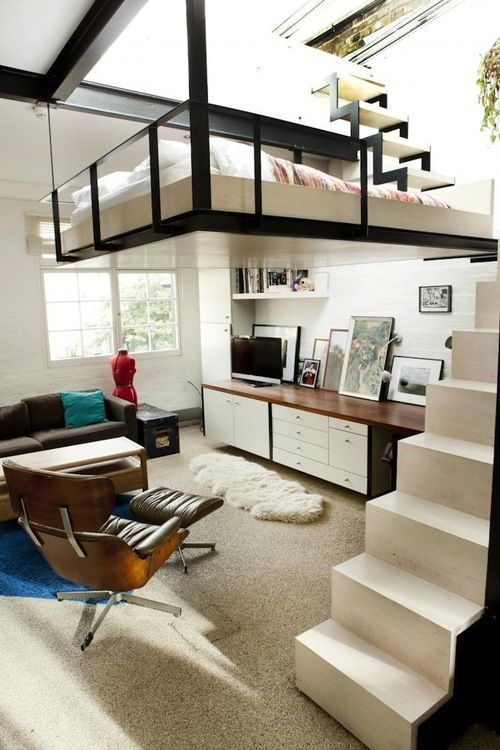 Loft home - Suspended bed - Small space living - Clean and contemporary architectural details