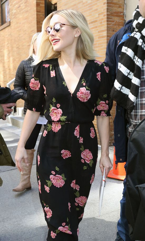 Kristen Bell Works Real-World Style in Reformation at the ABC Studios in NYC | Tom + Lorenzo