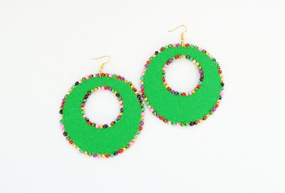 Oversized green felt circle earrings multicolor by elfinadesign