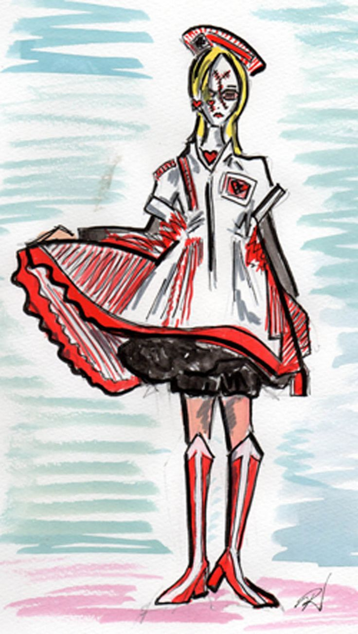 Nurse cosplay. Drawing by Trish Chamberlain. Dress and hat by Blablahospital.