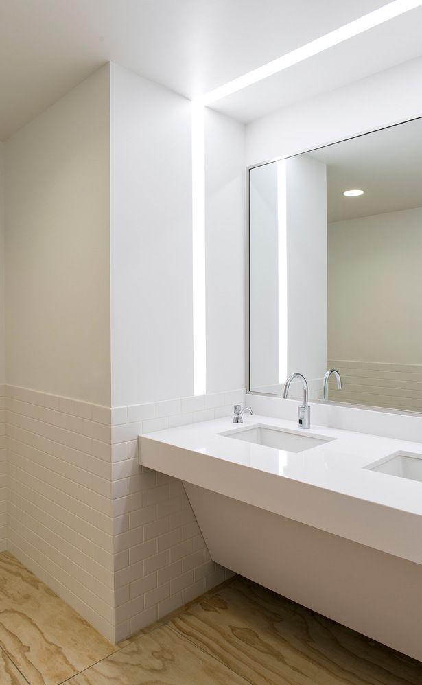 257 best commercial bathroom images on pinterest for Commercial bathroom lighting