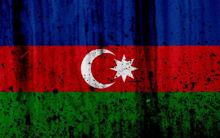 Download wallpapers Azerbaijani flag, 4k, grunge, flag of Azerbaijan, Asia, Azerbaijan, national symbols, Azerbaijan national flag