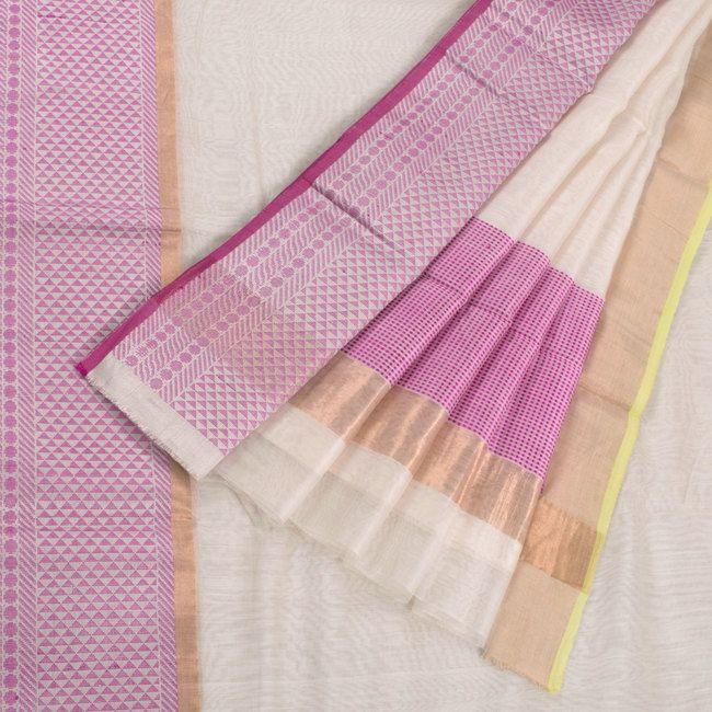 Marm Handwoven Chanderi Silk Cotton Saree with Tissue Border 10002375 - AVISHYA