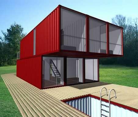 casa hecha con varios módulos de containers
