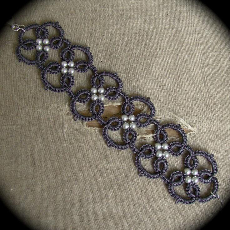 Tatted Lace Bracelet - Quadra in Grays. $18.00, via Etsy.