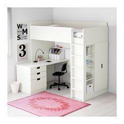 IKEA - STUVA, Hochbettkomb. 3 Schubl./2 Türen, weiß, , Dieses Hochbett wird zur Komplettlösung fürs Kinderzimmer - mit Schreibtisch, Regal und Kleiderschrank.Der Schreibtisch kann parallel oder rechtwinklig zum Bett angebracht werden. Ergänzt mit 2 ADILS Beinen kann er frei stehen.Steht der Schreibtisch rechtwinklig zum Bett, ist der Kleiderschrank von zwei Seiten zugänglich.Zur Minderung der Rutschgefahr sind die Leitersprossen gefast.Dank Kabelöffnung in der Schreibtischplatte sind Kabel…