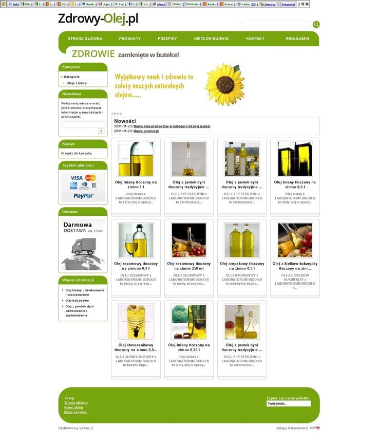 Zdrowy-Olej.pl to sklep, który został zaprojektowany w porozumieniu z producentem olejów ;-)