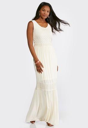 e590c257903 Cato Fashions Tiered Crochet Trim Maxi Dress  CatoFashions ...