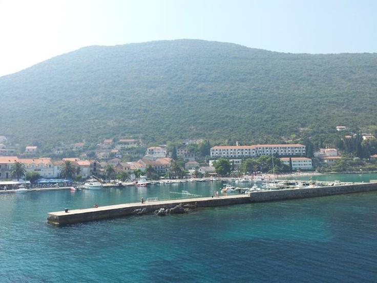 The beautiful Trpanj in Peljesac, Croatia taken while departing on the car ferry to Ploce. http://croatianstonehouse.com
