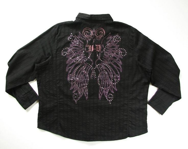 HARLEY DAVIDSON WOMENS 2W BLACK RHINESTONE BUTTON SHIRT #HARLEYDAVIDSON #ButtonDownShirt