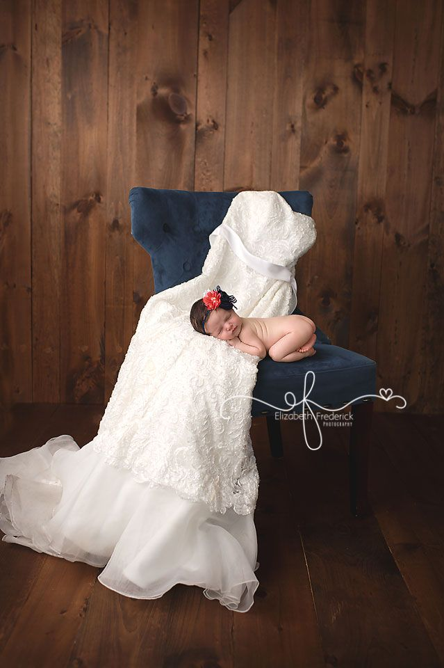 Honeymoon baby | Newborn with Wedding Dress | CT Newborn Photographer Elizabeth Frederick Photography