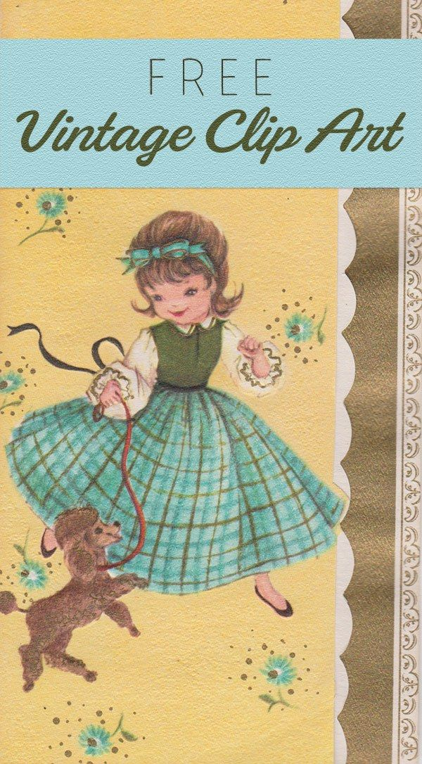 Free Vintage Clip Art - Girl with Poodle - https://vintagegraphics.ohsonifty.com/free-vintage-clip-art-girl-with-poodle/