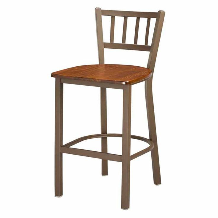 Regal Jailhouse 26 in. Metal Counter Stool with Wood Seat - 1309W-26-BLACK-MAHOGANY